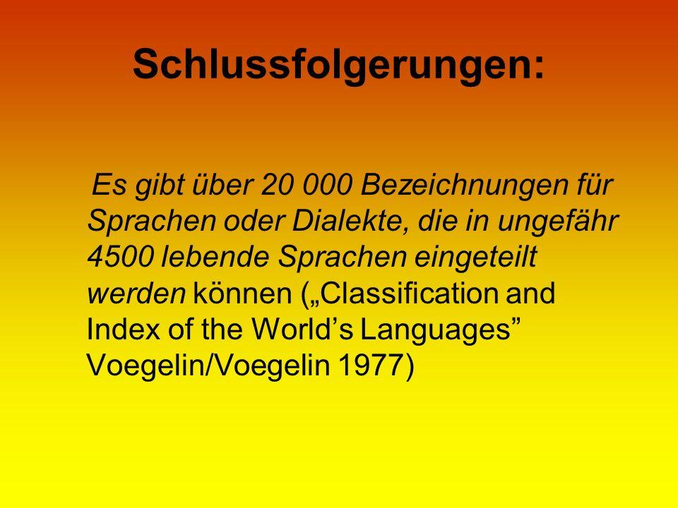 Schlussfolgerungen: Es gibt über 20 000 Bezeichnungen für Sprachen oder Dialekte, die in ungefähr 4500 lebende Sprachen eingeteilt werden können (Clas