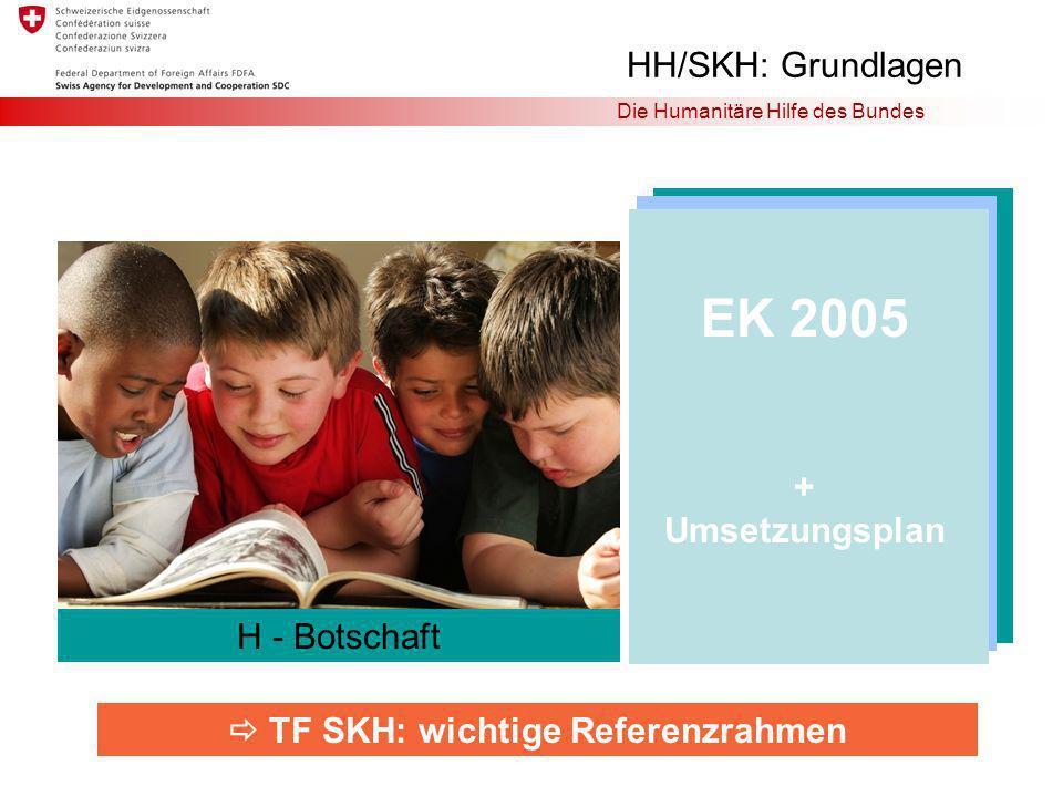 Die Humanitäre Hilfe des Bundes EK 2005 + Umsetzungsplan TF SKH: wichtige Referenzrahmen H-Botschaft HH/SKH: Grundlagen