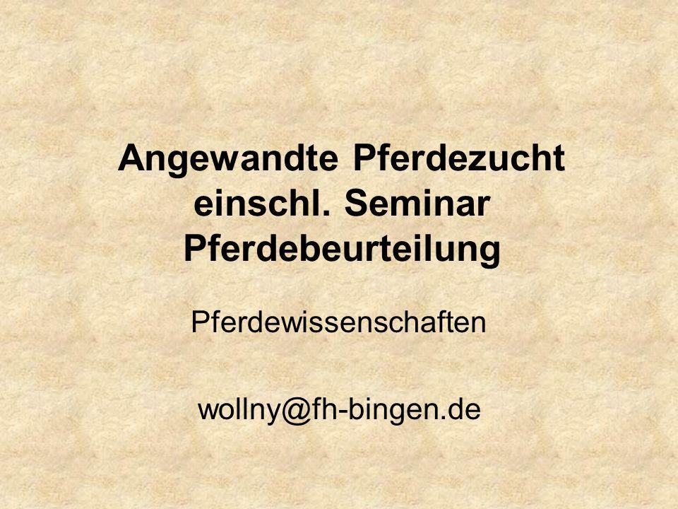 Angewandte Pferdezucht einschl. Seminar Pferdebeurteilung Pferdewissenschaften wollny@fh-bingen.de