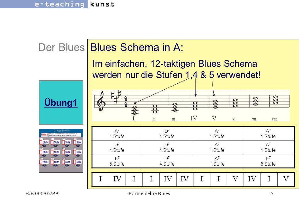 B/E 000/02/PPFormenlehre Blues5 Der BluesBlues Schema in A: Übung1 A 7 1.Stufe D 7 4.Stufe A 7 1.Stufe D 7 4.Stufe A 7 1.Stufe E 7 5.Stufe D 7 4.Stufe A 7 1.Stufe E 7 5.Stufe Im einfachen, 12-taktigen Blues Schema werden nur die Stufen 1,4 & 5 verwendet.