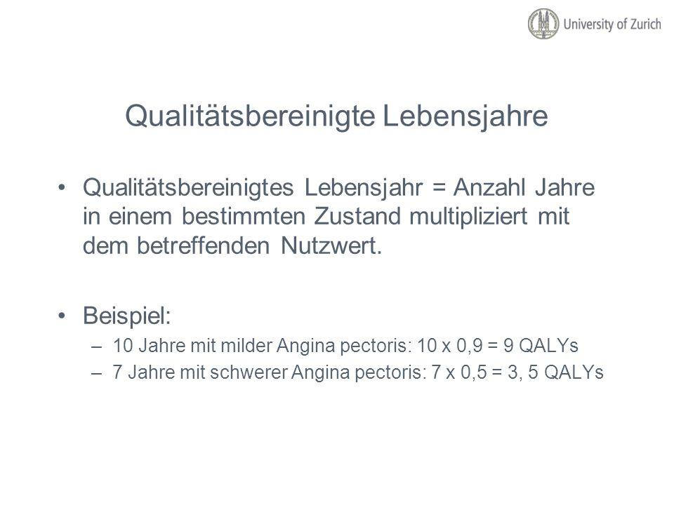 Qualitätsbereinigte Lebensjahre Qualitätsbereinigtes Lebensjahr = Anzahl Jahre in einem bestimmten Zustand multipliziert mit dem betreffenden Nutzwert
