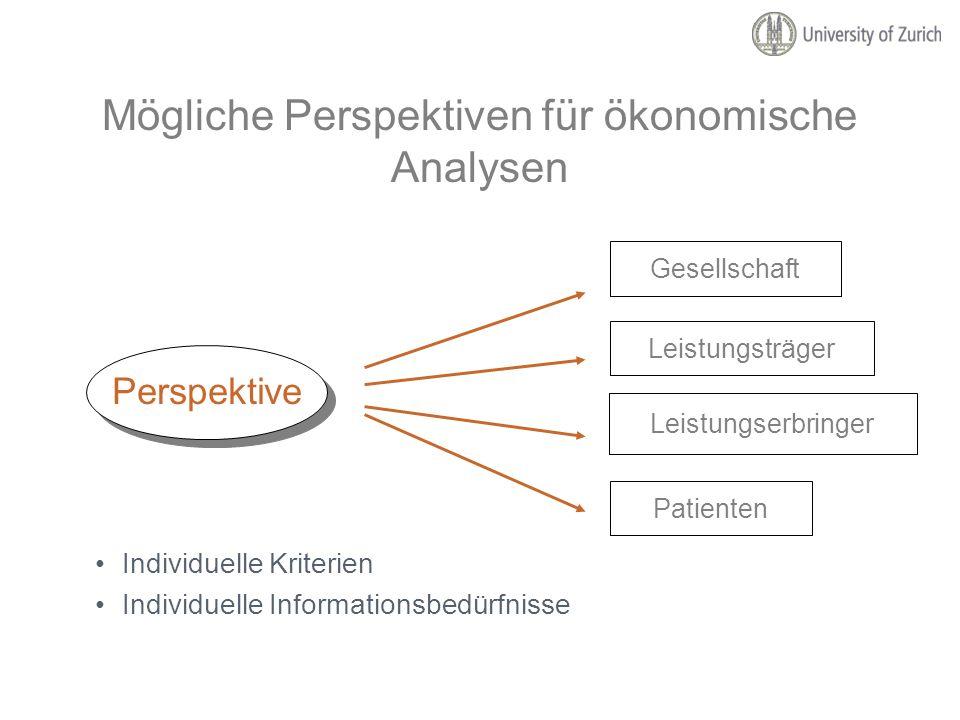 Mögliche Perspektiven für ökonomische Analysen Individuelle Kriterien Individuelle Informationsbedürfnisse Perspektive Patienten Leistungserbringer Le