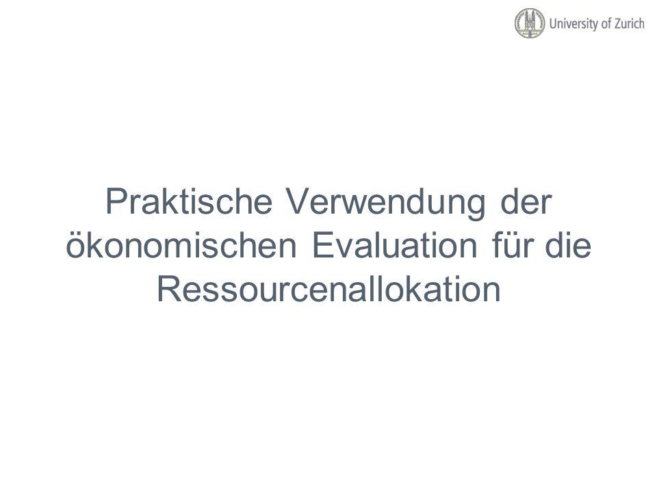 Praktische Verwendung der ökonomischen Evaluation für die Ressourcenallokation