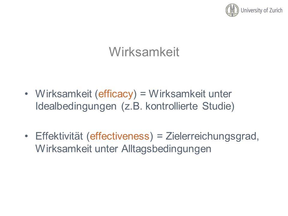 Wirksamkeit Wirksamkeit (efficacy) = Wirksamkeit unter Idealbedingungen (z.B. kontrollierte Studie) Effektivität (effectiveness) = Zielerreichungsgrad