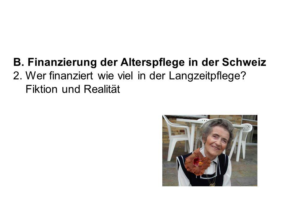 B. Finanzierung der Alterspflege in der Schweiz 2. Wer finanziert wie viel in der Langzeitpflege? Fiktion und Realität