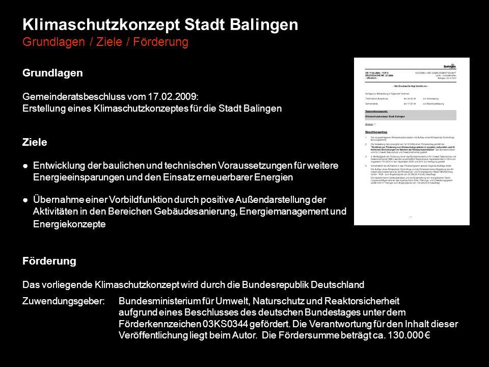 Klimaschutzkonzept Stadt Balingen Grundlagen / Ziele / Förderung Ziele Entwicklung der baulichen und technischen Voraussetzungen für weitere Energieei