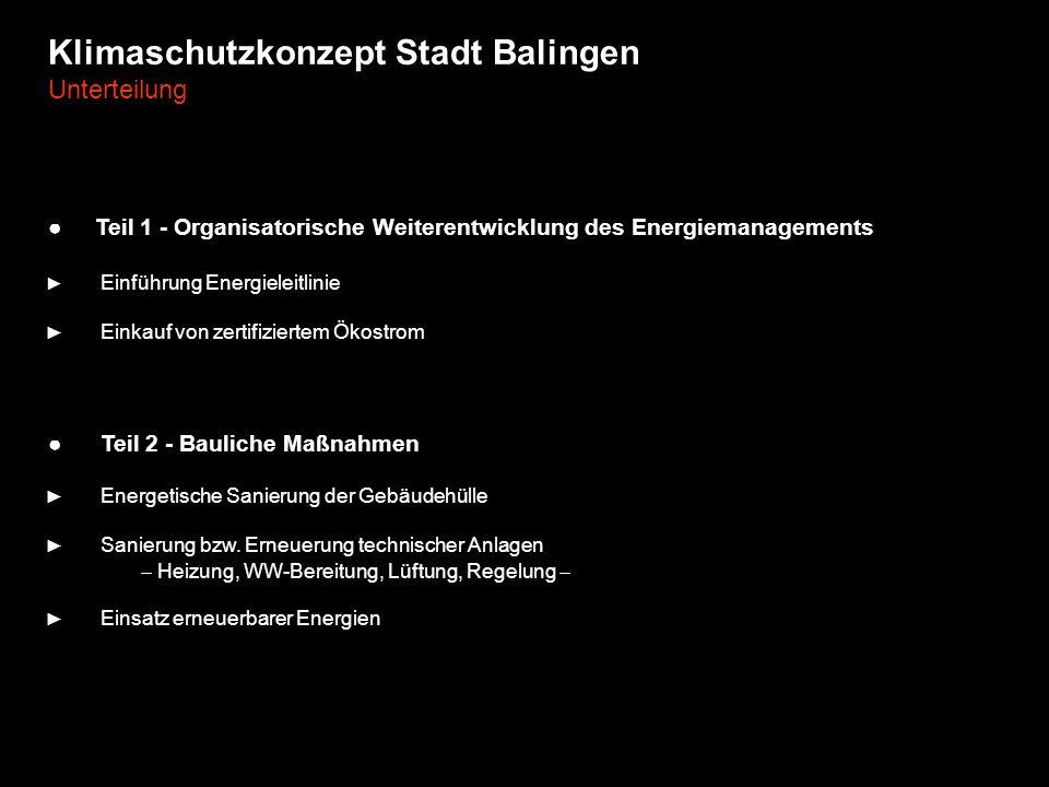 Klimaschutzkonzept Stadt Balingen Unterteilung Teil 1 - Organisatorische Weiterentwicklung des Energiemanagements Einführung Energieleitlinie Einkauf