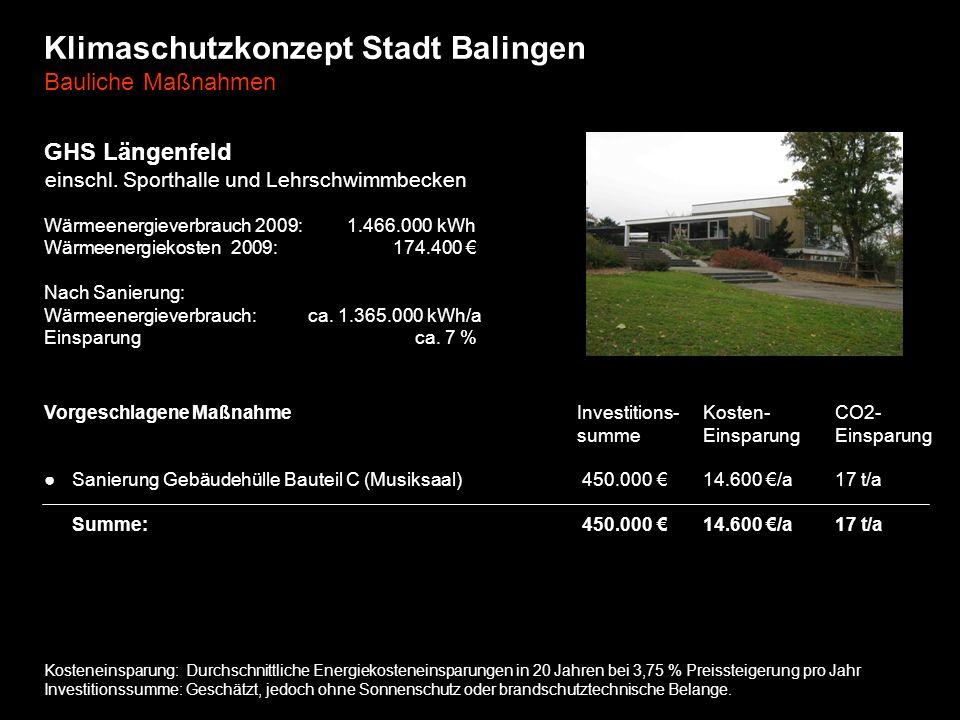 Klimaschutzkonzept Stadt Balingen Bauliche Maßnahmen GHS Längenfeld einschl. Sporthalle und Lehrschwimmbecken Wärmeenergieverbrauch 2009: 1.466.000 kW