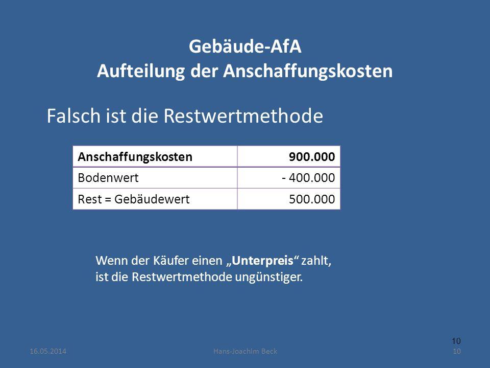 Gebäude-AfA Aufteilung der Anschaffungskosten Falsch ist die Restwertmethode Anschaffungskosten900.000 Bodenwert- 400.000 Rest = Gebäudewert500.000 10 Wenn der Käufer einen Unterpreis zahlt, ist die Restwertmethode ungünstiger.