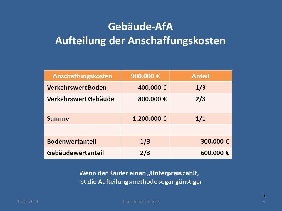 Gebäude-AfA Aufteilung der Anschaffungskosten Anschaffungskosten900.000 Anteil Verkehrswert Boden400.000 1/3 Verkehrswert Gebäude800.000 2/3 Summe1.200.000 1/1 Bodenwertanteil1/3300.000 Gebäudewertanteil2/3600.000 9 9 Wenn der Käufer einen Unterpreis zahlt, ist die Aufteilungsmethode sogar günstiger 16.05.2014Hans-Joachim Beck