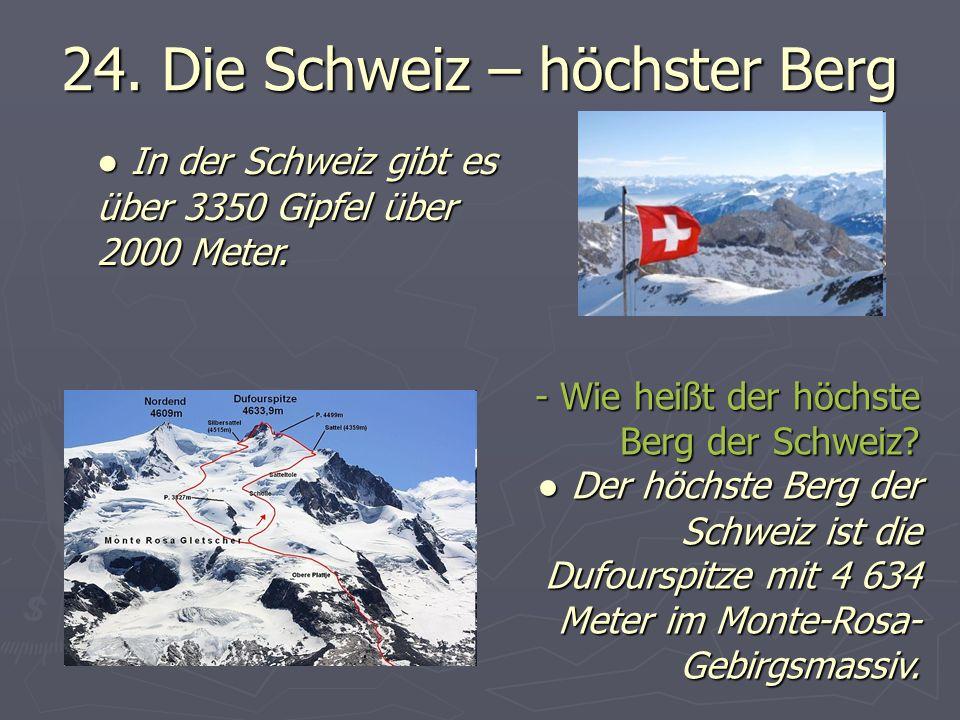 24.Die Schweiz – höchster Berg - Wie heißt der höchste Berg der Schweiz.