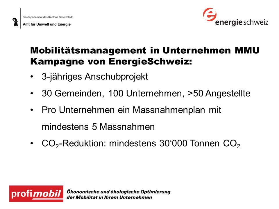Kampagne von EnergieSchweiz: 3-jähriges Anschubprojekt 30 Gemeinden, 100 Unternehmen, >50 Angestellte Pro Unternehmen ein Massnahmenplan mit mindestens 5 Massnahmen CO 2 -Reduktion: mindestens 30000 Tonnen CO 2