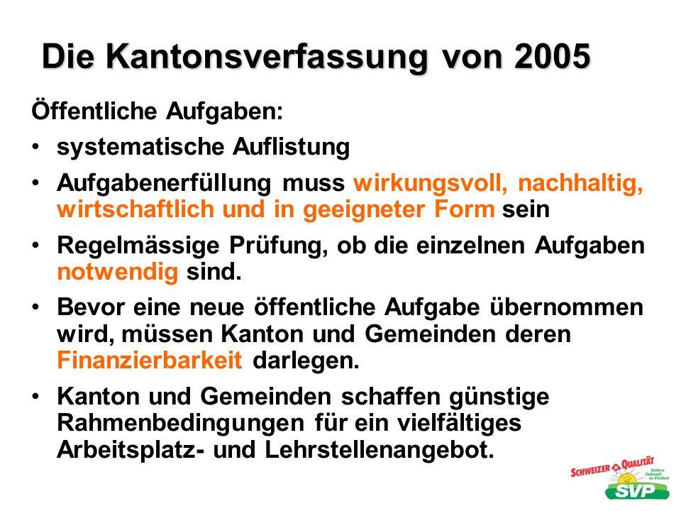 Die Kantonsverfassung von 2005 Öffentliche Aufgaben: systematische Auflistung Aufgabenerfüllung muss wirkungsvoll, nachhaltig, wirtschaftlich und in g