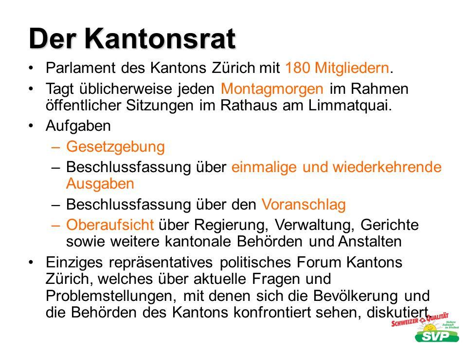 Der Kantonsrat Parlament des Kantons Zürich mit 180 Mitgliedern. Tagt üblicherweise jeden Montagmorgen im Rahmen öffentlicher Sitzungen im Rathaus am