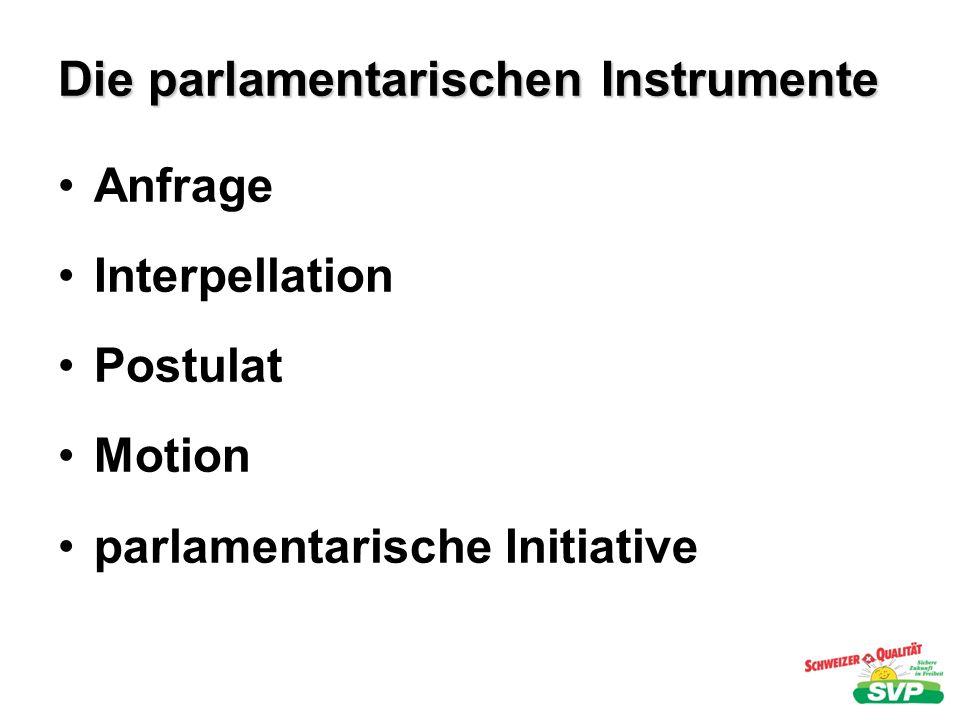 Die parlamentarischen Instrumente Anfrage Interpellation Postulat Motion parlamentarische Initiative