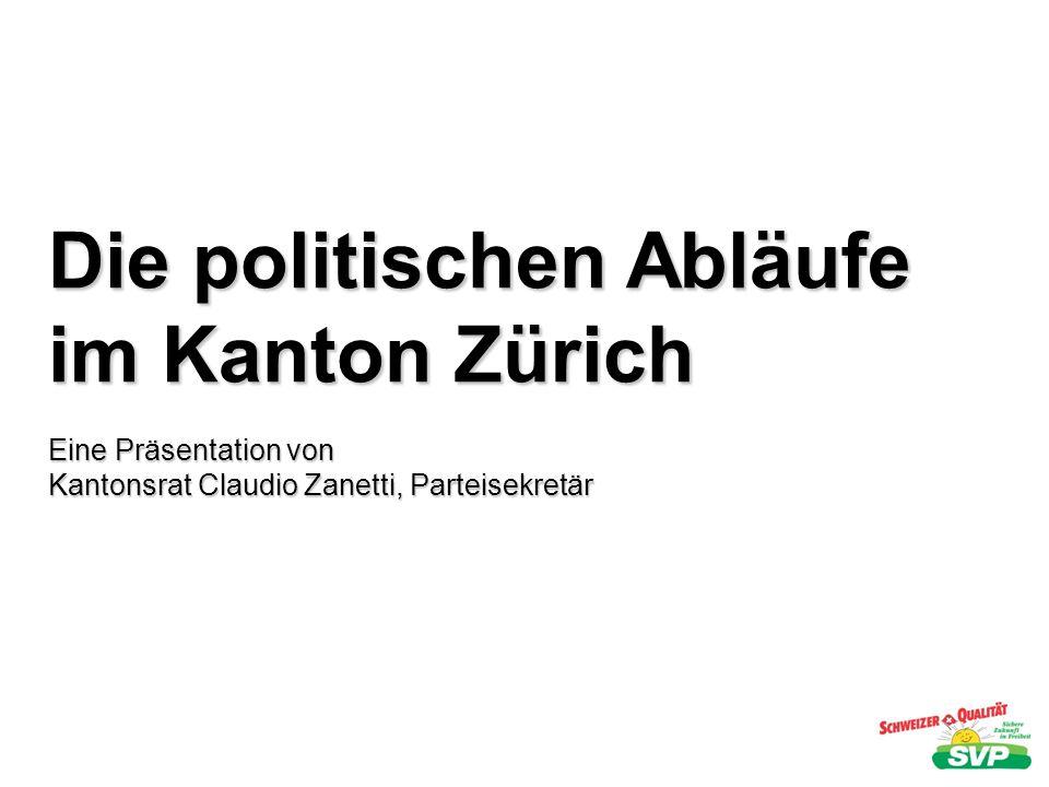 Die politischen Abläufe im Kanton Zürich Eine Präsentation von Kantonsrat Claudio Zanetti, Parteisekretär