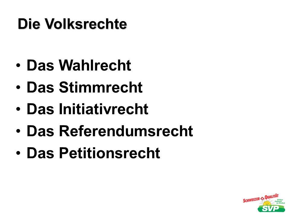 Die Volksrechte Das Wahlrecht Das Stimmrecht Das Initiativrecht Das Referendumsrecht Das Petitionsrecht