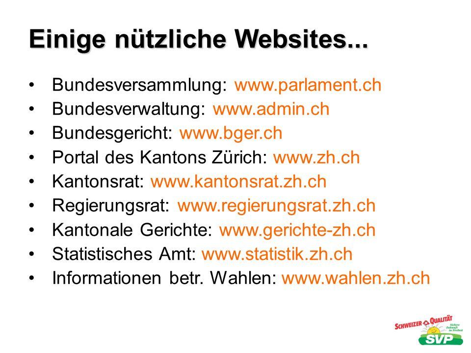 Einige nützliche Websites... Bundesversammlung: www.parlament.ch Bundesverwaltung: www.admin.ch Bundesgericht: www.bger.ch Portal des Kantons Zürich: