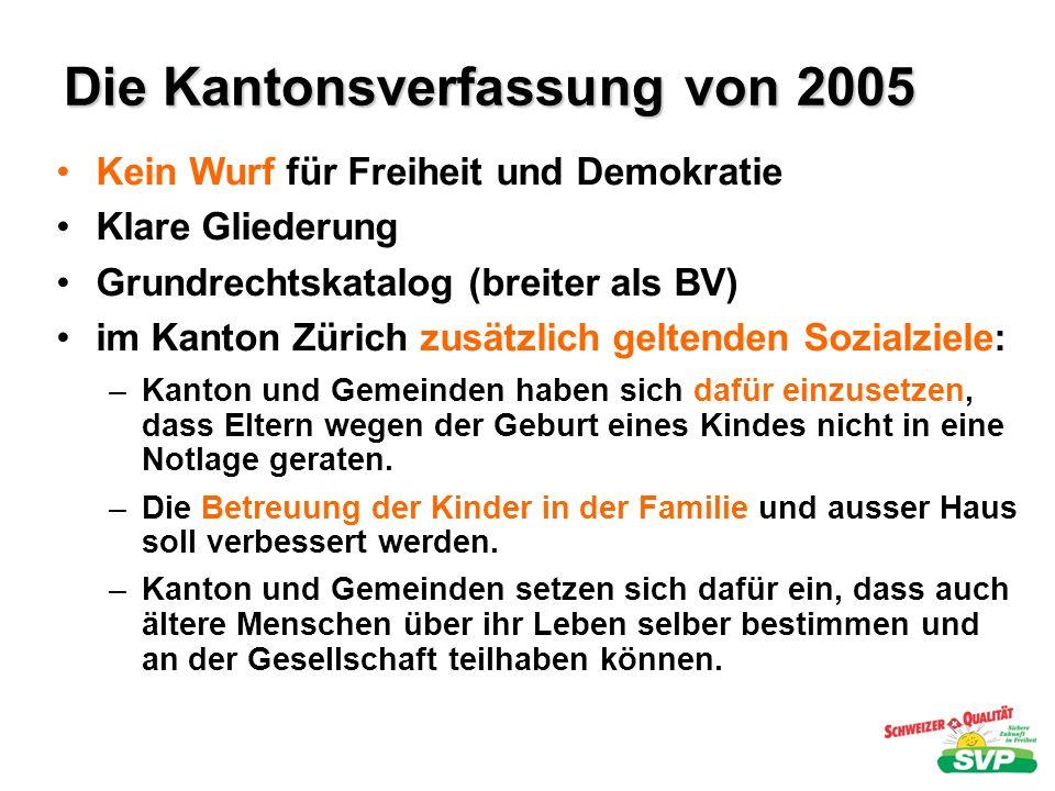 Die Kantonsverfassung von 2005 Kein Wurf für Freiheit und Demokratie Klare Gliederung Grundrechtskatalog (breiter als BV) im Kanton Zürich zusätzlich