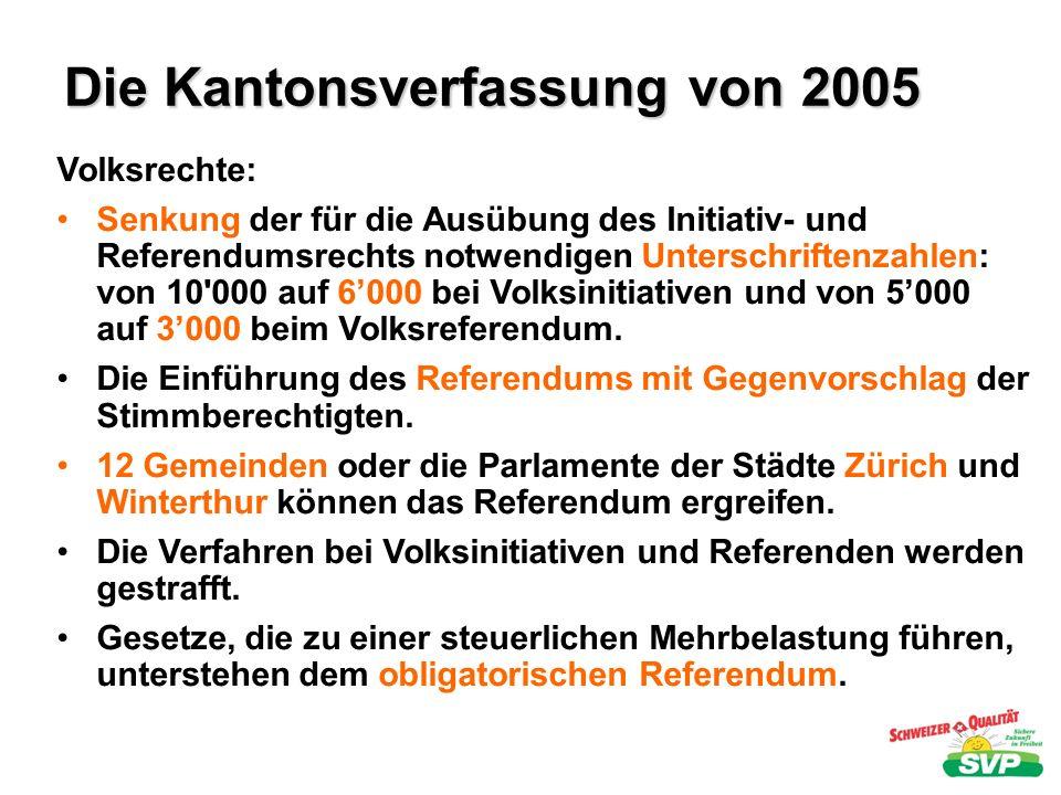 Die Kantonsverfassung von 2005 Gemeinden: Teilweise Stärkung der Gemeindeautonomie Stärkung der Mitwirkungsrechte in kantonalen Entscheidungsverfahren Stärkung der direkten Demokratie Möglicher Zwang zum Eingehen von Zweckgemeinden