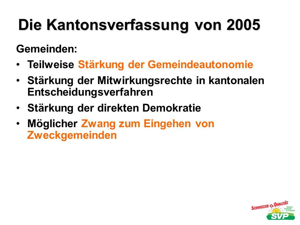 Die Kantonsverfassung von 2005 Öffentliche Aufgaben: systematische Auflistung Aufgabenerfüllung muss wirkungsvoll, nachhaltig, wirtschaftlich und in geeigneter Form sein Regelmässige Prüfung, ob die einzelnen Aufgaben notwendig sind.