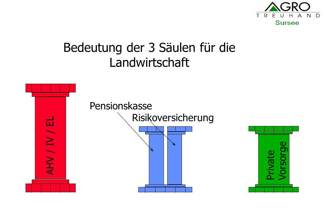 Bedeutung der 3 Säulen für die Landwirtschaft AHV / IV / EL Private Vorsorge Pensionskasse Risikoversicherung