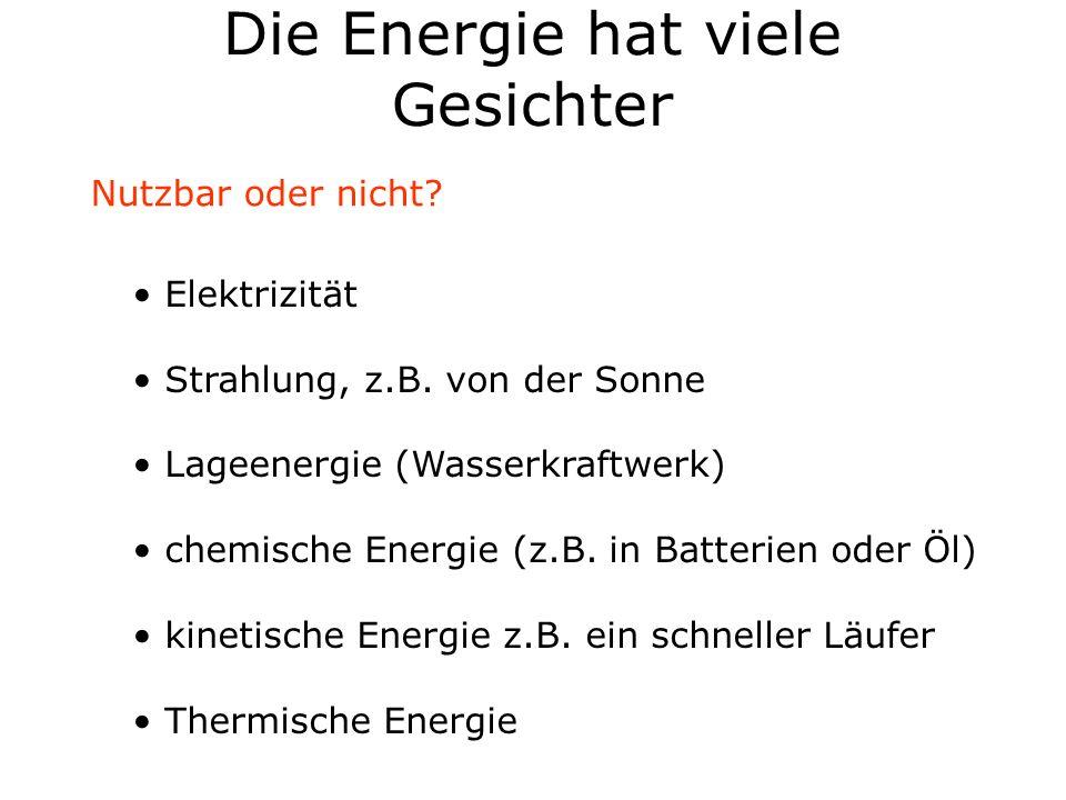 Die Energie hat viele Gesichter Elektrizität Strahlung, z.B. von der Sonne Lageenergie (Wasserkraftwerk) chemische Energie (z.B. in Batterien oder Öl)