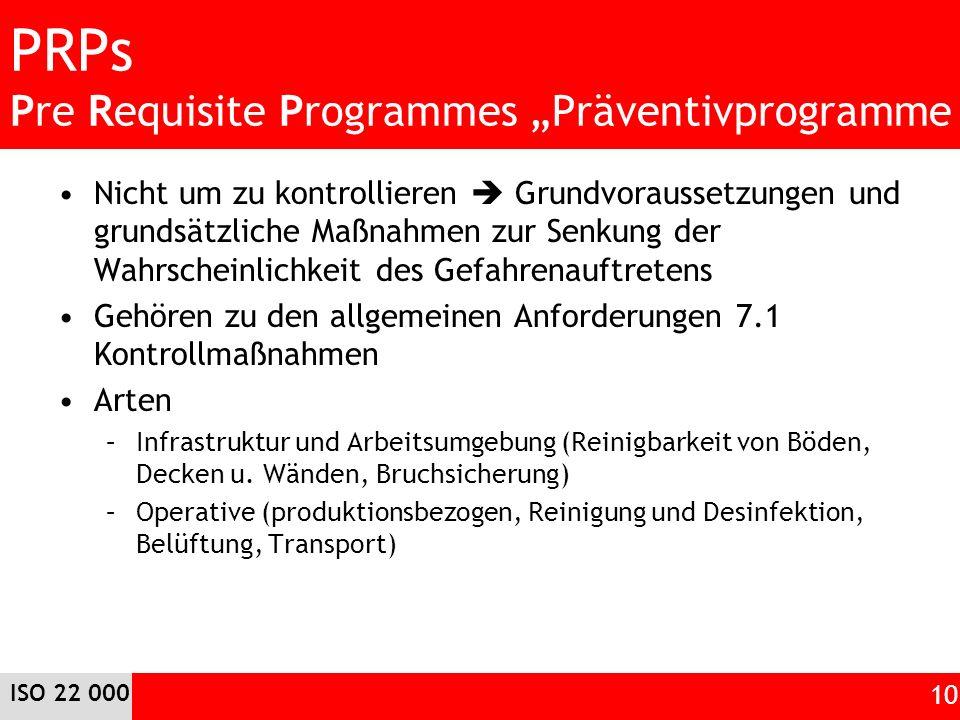 PRPs Pre Requisite Programmes Präventivprogramme Nicht um zu kontrollieren Grundvoraussetzungen und grundsätzliche Maßnahmen zur Senkung der Wahrschei