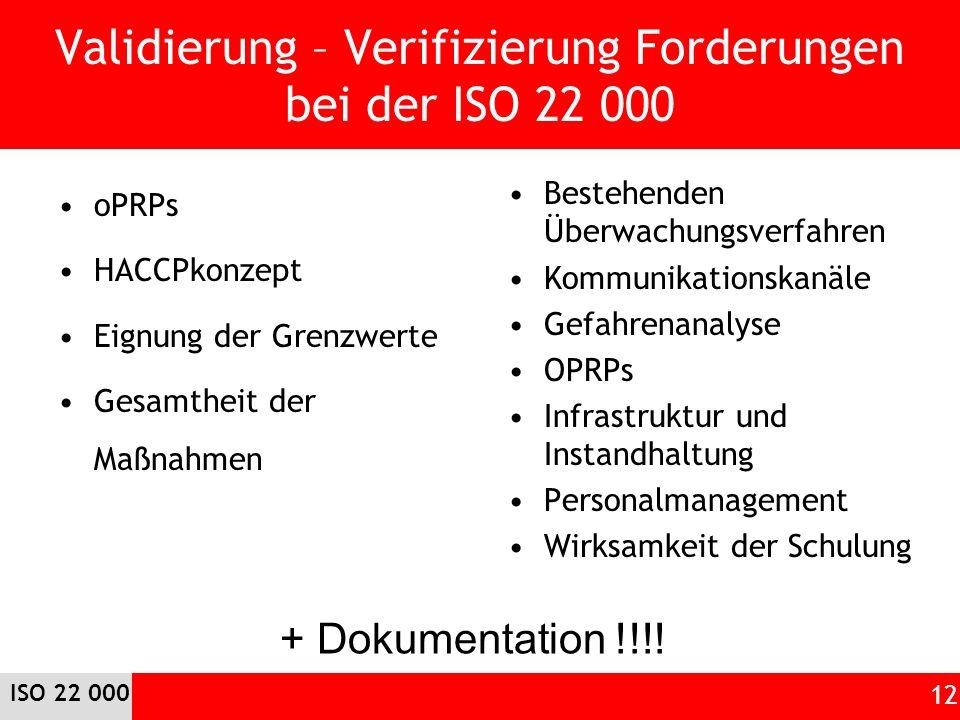 Validierung – Verifizierung Forderungen bei der ISO 22 000 oPRPs HACCPkonzept Eignung der Grenzwerte Gesamtheit der Maßnahmen Bestehenden Überwachungsverfahren Kommunikationskanäle Gefahrenanalyse OPRPs Infrastruktur und Instandhaltung Personalmanagement Wirksamkeit der Schulung ISO 22 000 12 + Dokumentation !!!!