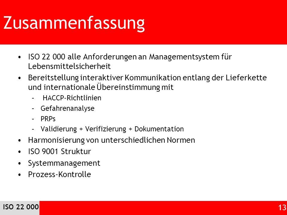 Zusammenfassung ISO 22 000 alle Anforderungen an Managementsystem für Lebensmittelsicherheit Bereitstellung interaktiver Kommunikation entlang der Lie