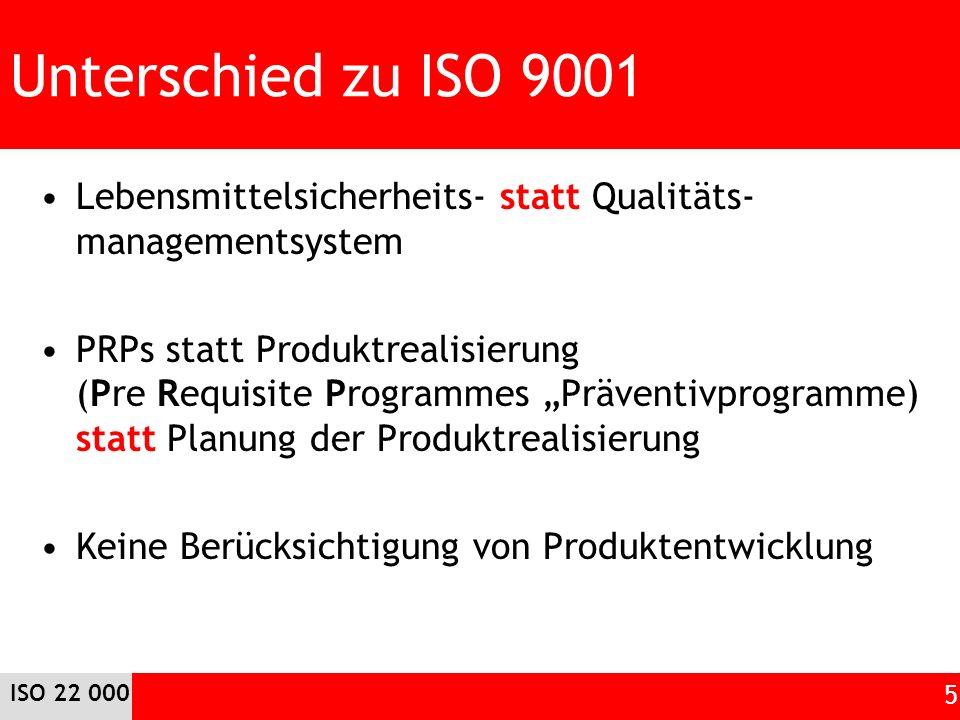 Unterschied zu ISO 9001 Lebensmittelsicherheits- statt Qualitäts- managementsystem PRPs statt Produktrealisierung (Pre Requisite Programmes Präventivprogramme) statt Planung der Produktrealisierung Keine Berücksichtigung von Produktentwicklung ISO 22 000 5
