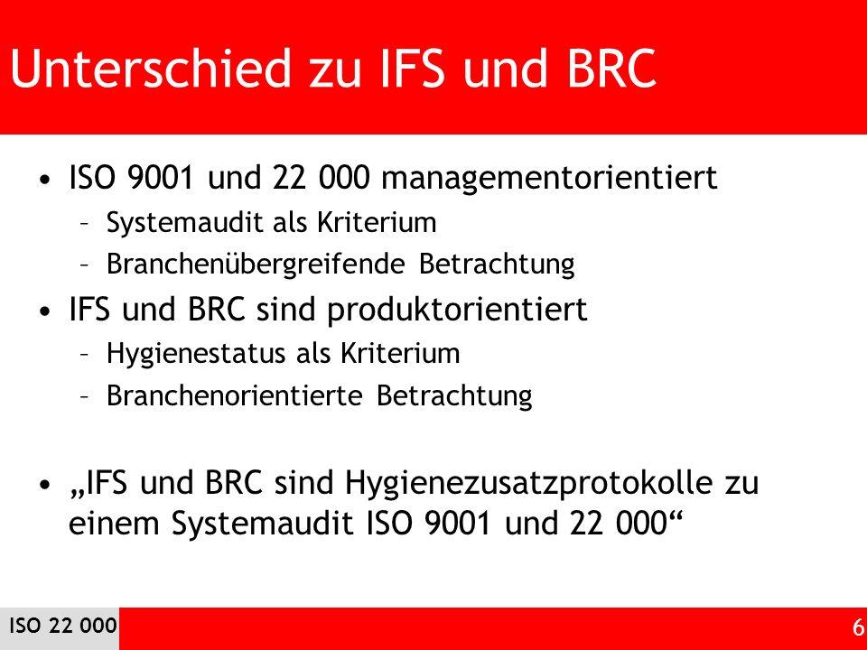 Unterschied zu IFS und BRC ISO 9001 und 22 000 managementorientiert –Systemaudit als Kriterium –Branchenübergreifende Betrachtung IFS und BRC sind produktorientiert –Hygienestatus als Kriterium –Branchenorientierte Betrachtung IFS und BRC sind Hygienezusatzprotokolle zu einem Systemaudit ISO 9001 und 22 000 ISO 22 000 6