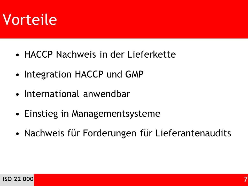 Vorteile HACCP Nachweis in der Lieferkette Integration HACCP und GMP International anwendbar Einstieg in Managementsysteme Nachweis für Forderungen fü