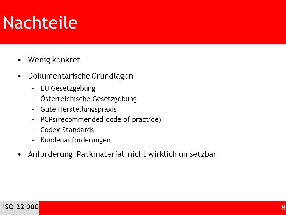 Nachteile Wenig konkret Dokumentarische Grundlagen –EU Gesetzgebung –Österreichische Gesetzgebung –Gute Herstellungspraxis –PCPs(recommended code of p