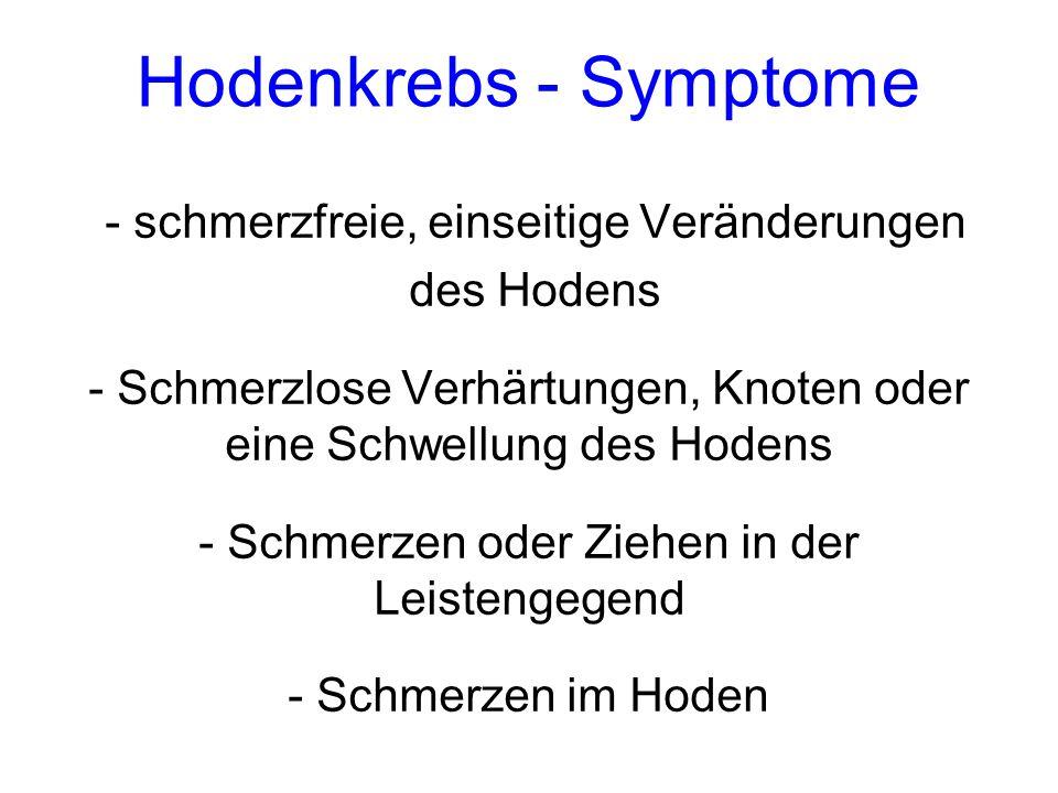Hodenkrebs - Symptome - schmerzfreie, einseitige Veränderungen des Hodens - Schmerzlose Verhärtungen, Knoten oder eine Schwellung des Hodens - Schmerz
