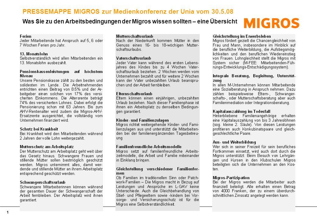 1 PRESSEMAPPE MIGROS zur Medienkonferenz der Unia vom 30.5.08 Was Sie zu den Arbeitsbedingungen der Migros wissen sollten – eine Übersicht