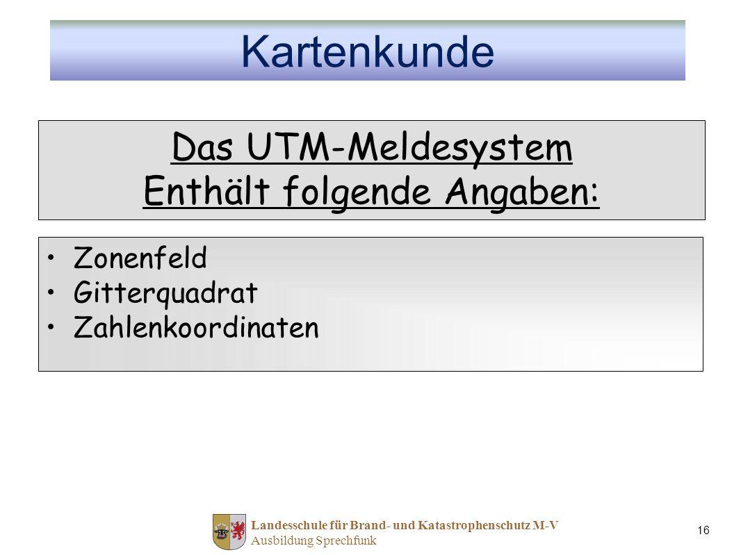 Landesschule für Brand- und Katastrophenschutz M-V Ausbildung Sprechfunk 16 Das UTM-Meldesystem Enthält folgende Angaben: Zonenfeld Gitterquadrat Zahl