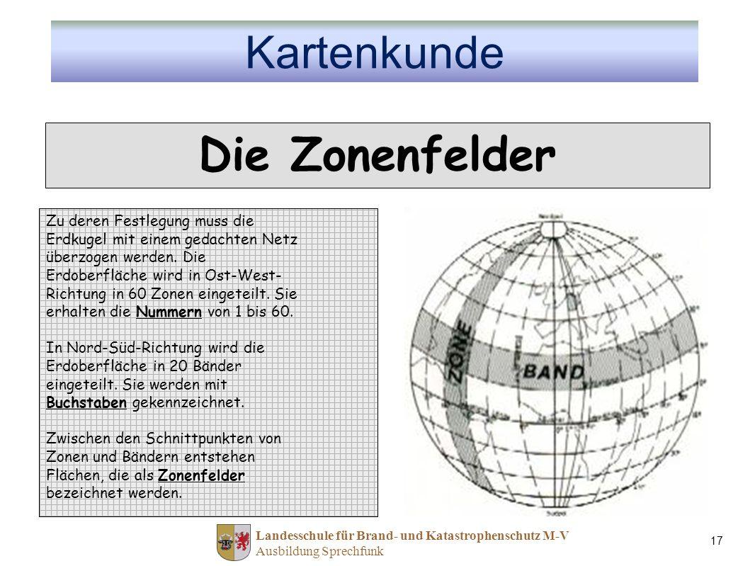 Landesschule für Brand- und Katastrophenschutz M-V Ausbildung Sprechfunk 17 Die Zonenfelder Zu deren Festlegung muss die Erdkugel mit einem gedachten Netz überzogen werden.