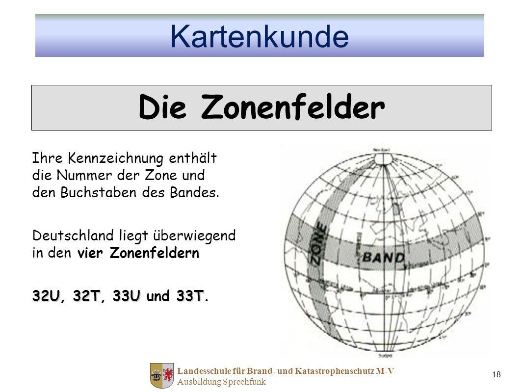 Landesschule für Brand- und Katastrophenschutz M-V Ausbildung Sprechfunk 18 Ihre Kennzeichnung enthält die Nummer der Zone und den Buchstaben des Bandes.