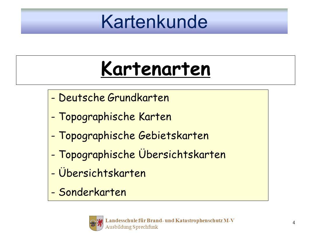Landesschule für Brand- und Katastrophenschutz M-V Ausbildung Sprechfunk 4 Kartenarten - Deutsche Grundkarten - Topographische Karten - Topographische