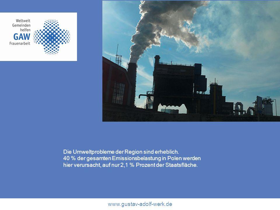 www.gustav-adolf-werk.de Die Umweltprobleme der Region sind erheblich. 40 % der gesamten Emissionsbelastung in Polen werden hier verursacht, auf nur 2