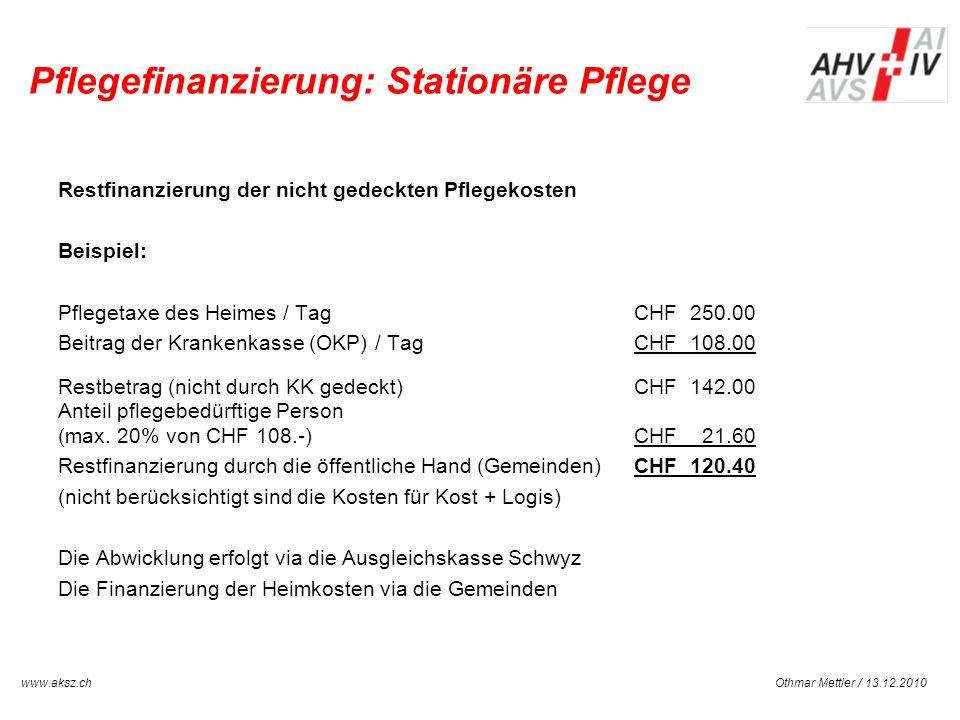 Othmar Mettler / 13.12.2010www.aksz.ch AUSGLEICHSKASSE IV-STELLE SCHWYZ Pflegefinanzierung: Stationäre Pflege Restfinanzierung der nicht gedeckten Pfl