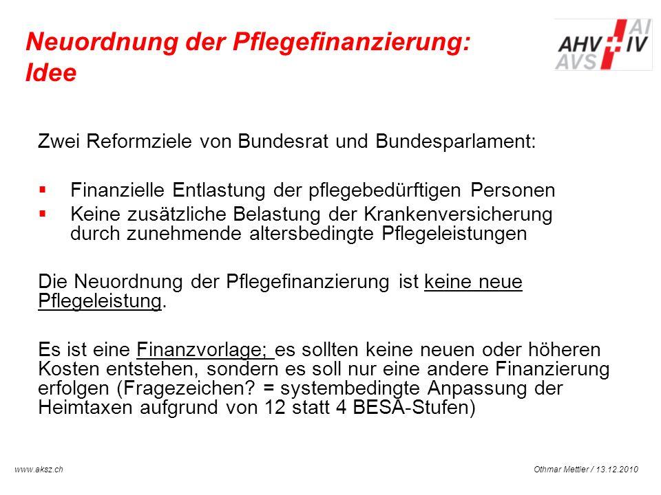 Othmar Mettler / 13.12.2010www.aksz.ch AUSGLEICHSKASSE IV-STELLE SCHWYZ Neuordnung der Pflegefinanzierung: Idee Zwei Reformziele von Bundesrat und Bun