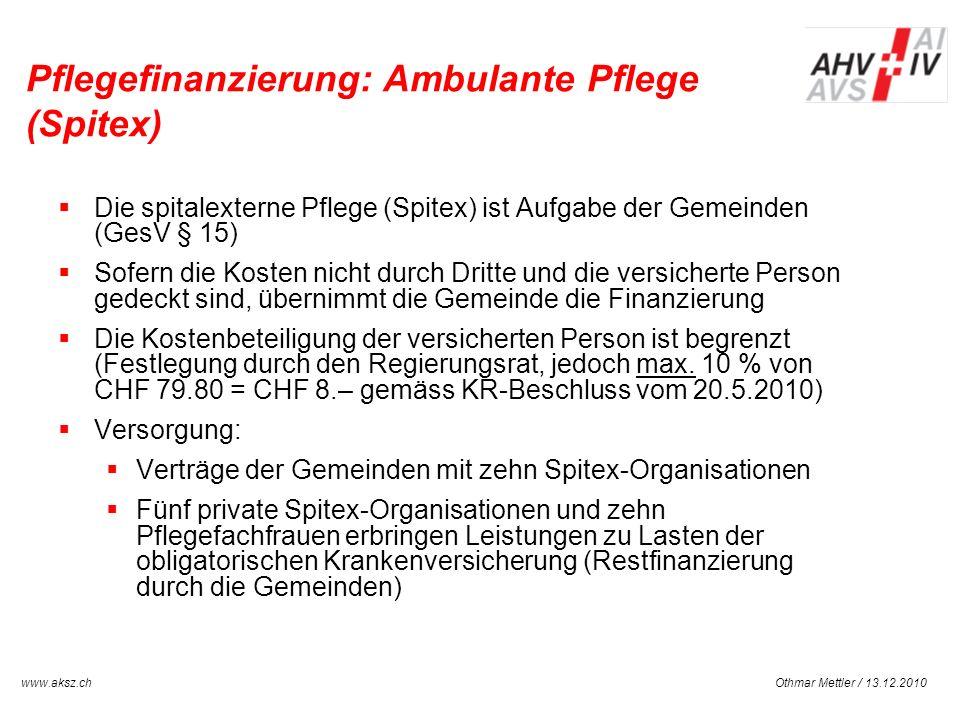 Othmar Mettler / 13.12.2010www.aksz.ch AUSGLEICHSKASSE IV-STELLE SCHWYZ Pflegefinanzierung: Ambulante Pflege (Spitex) Die spitalexterne Pflege (Spitex