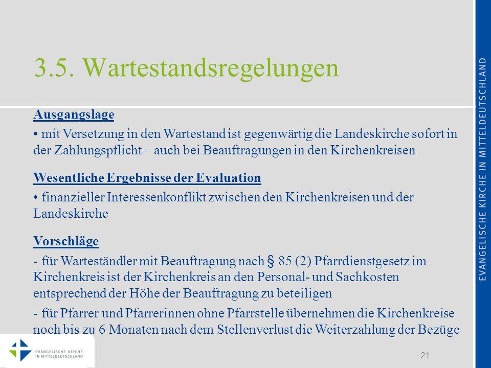 21 3.5. Wartestandsregelungen Ausgangslage mit Versetzung in den Wartestand ist gegenwärtig die Landeskirche sofort in der Zahlungspflicht – auch bei