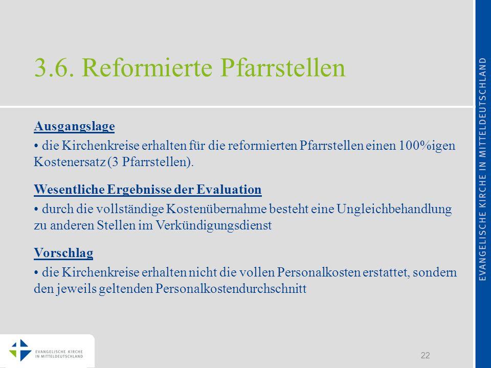 22 3.6. Reformierte Pfarrstellen Ausgangslage die Kirchenkreise erhalten für die reformierten Pfarrstellen einen 100%igen Kostenersatz (3 Pfarrstellen
