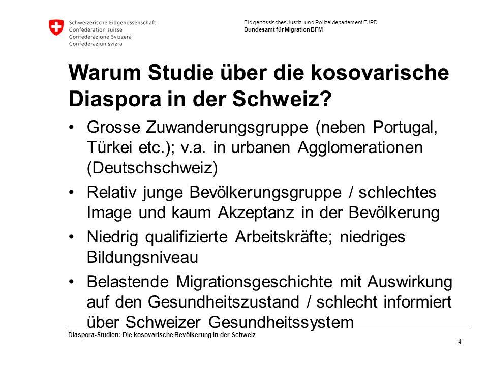 Eidgenössisches Justiz- und Polizeidepartement EJPD Bundesamt für Migration BFM Diaspora-Studien: Die kosovarische Bevölkerung in der Schweiz 4 Warum Studie über die kosovarische Diaspora in der Schweiz.