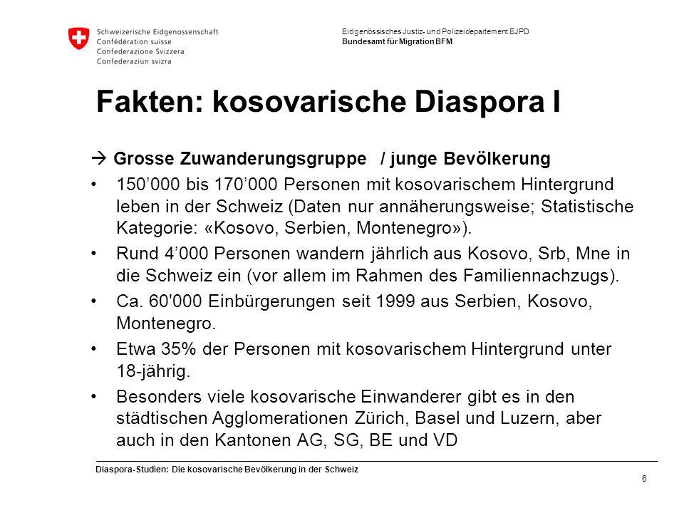 Eidgenössisches Justiz- und Polizeidepartement EJPD Bundesamt für Migration BFM Diaspora-Studien: Die kosovarische Bevölkerung in der Schweiz 6 Fakten