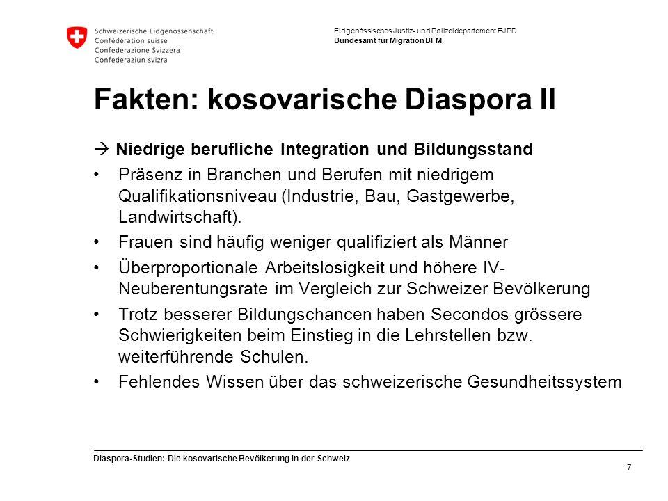 Eidgenössisches Justiz- und Polizeidepartement EJPD Bundesamt für Migration BFM Diaspora-Studien: Die kosovarische Bevölkerung in der Schweiz 7 Fakten