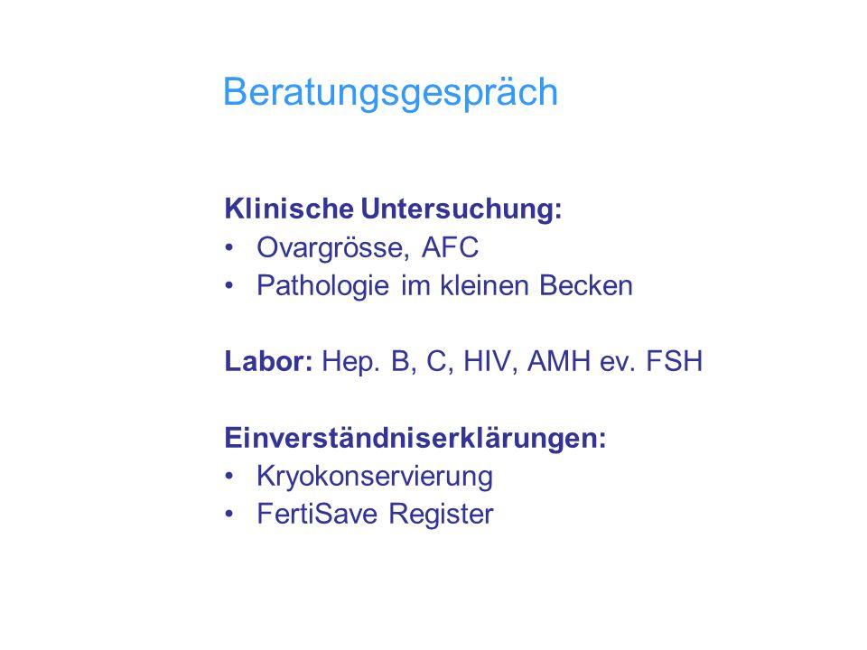 Beratungsgespräch Klinische Untersuchung: Ovargrösse, AFC Pathologie im kleinen Becken Labor: Hep. B, C, HIV, AMH ev. FSH Einverständniserklärungen: K